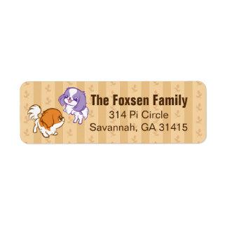 Frolicking Kawaii Puppies Japanese Chin Return Address Label
