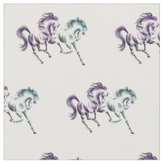 Frolicking Racing Wild Horses Fabric