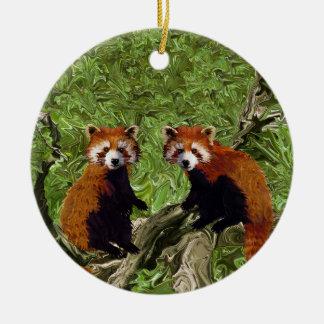 Frolicking Red Pandas Ceramic Ornament