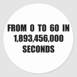 From  0 to 60 in seconds classic round sticker
