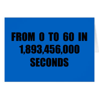 From  0 to 60 in seconds greeting card