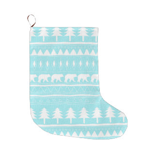 From Bears and Christmas-Teal Xmas Pattern Large Christmas Stocking