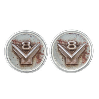 From classic car: Rusty old v8 emblem in chrome Cuff Links