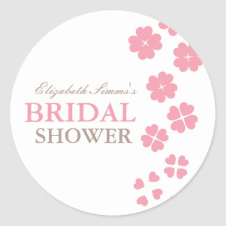 From Lucy: HEARTS & FLOWERS | bridal shower Classic Round Sticker