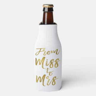 From Miss to Mrs Bridal Shower Gold Foil Script Bottle Cooler