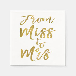 From Miss to Mrs Bridal Shower Gold Foil Script Disposable Napkins
