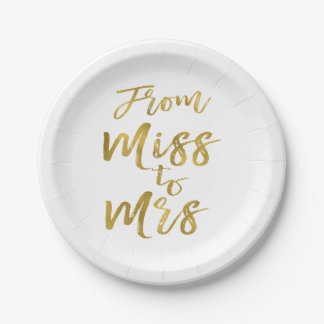 From Miss to Mrs Bridal Shower Party Gold Foil Paper Plate