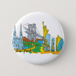 From Old To New York 6 Cm Round Badge