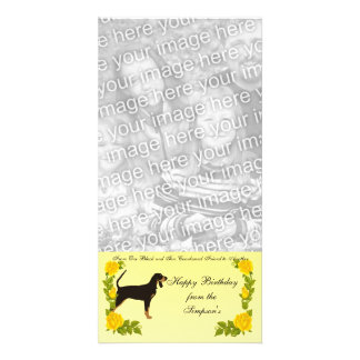 From One Black and Tan Coonhound Friend to Another Personalized Photo Card