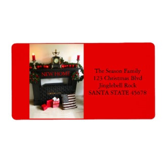 From our new address Christmas Fireplace Shipping Label