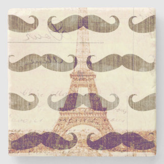 From Paris with mustache Stone Beverage Coaster