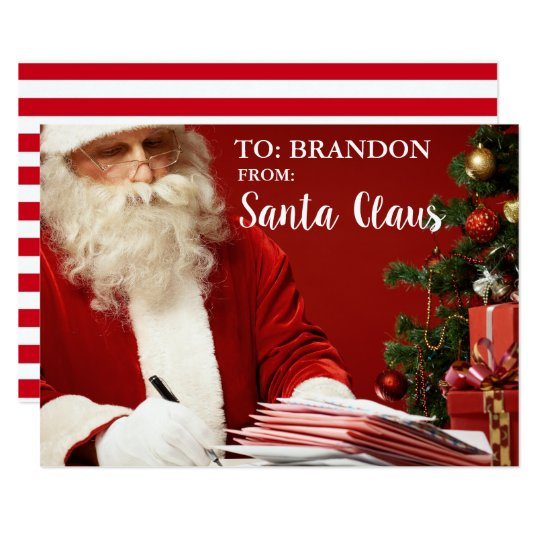 From Santa Claus ADD NAME Personalised St Card