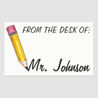 From the Desk of Personalised School Teacher Rectangular Sticker