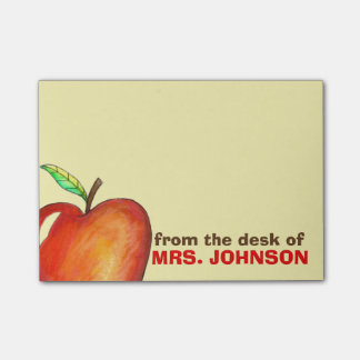 From the Desk of Teacher Red Apple Personalized Post-it Notes