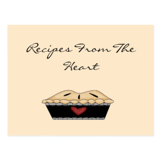 From The Heart Pie Recipe Card Postcard