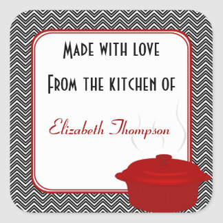 From The Kitchen of Black and Red Small Square Sticker