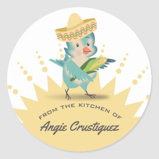 From the kitchen of cute bird mexican chef corn round sticker
