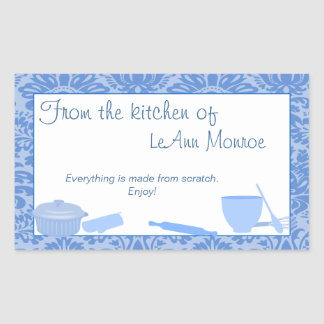 From The Kitchen Of Gift Tag in Blues Rectangular Sticker