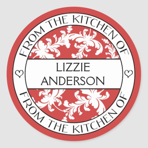 From the Kitchen of Label | Red White Damask Sticker