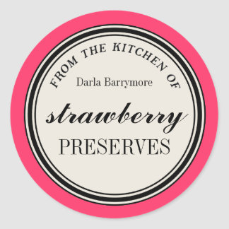 """""""From the Kitchen of"""" Label, Strawberry Preserves Round Sticker"""