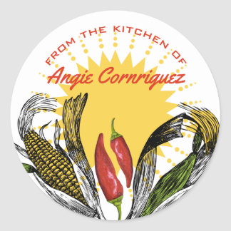 From the kitchen of Mexican food corn chilli Round Sticker