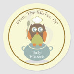 From The Kitchen Of...Owl With Chef's Hat & Spoon Round Stickers