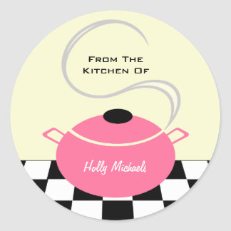 From The Kitchen Of...Pink Cooking Pot Round Sticker