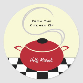 From The Kitchen Of...Red Cooking Pot Round Sticker