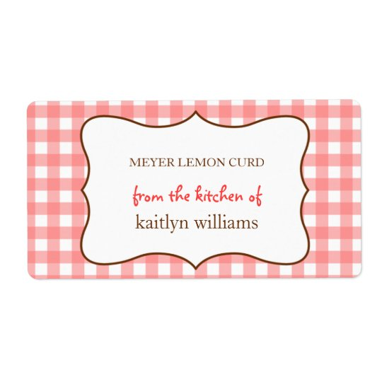 From the kitchen of red gingham custom label