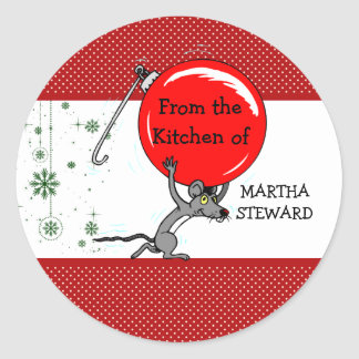From the Kitchen Of Red Green Cute Christmas Mouse Classic Round Sticker