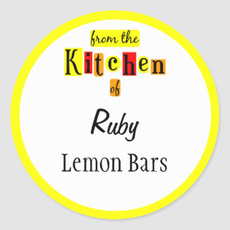 From the Kitchen of Retro Yellow Custom Stickers