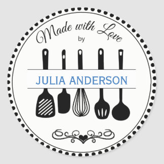 From the Kitchen Utensils Personalised Classic Round Sticker