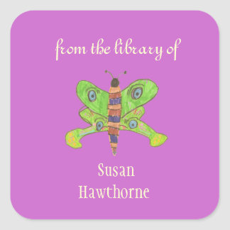 """From the library of"" butterfly custom bookplates Square Sticker"