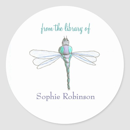 """From the library of"" dragonfly bookplate sticker"
