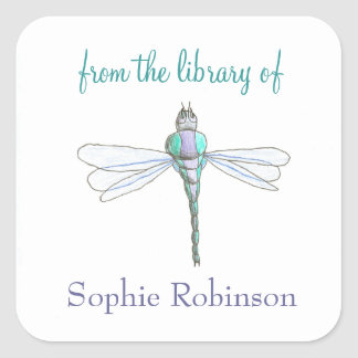 """From the library of"" dragonfly custom bookplates Square Sticker"