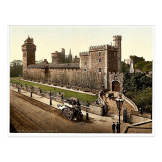 From the southeast, Cardiff Castle, Wales rare Pho Postcard
