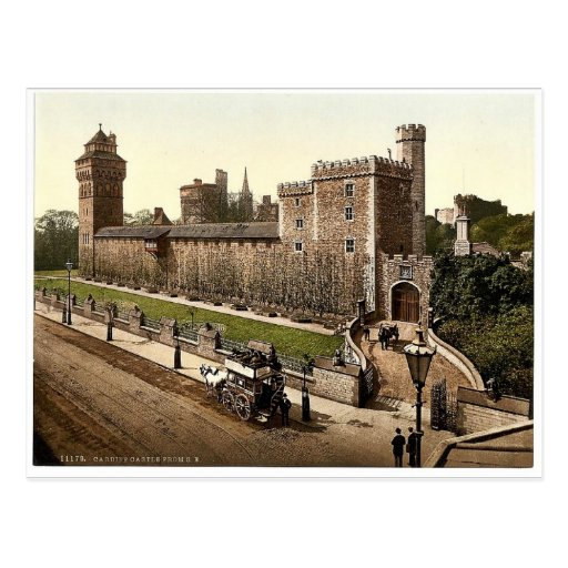 From the southeast, Cardiff Castle, Wales rare Pho Post Card