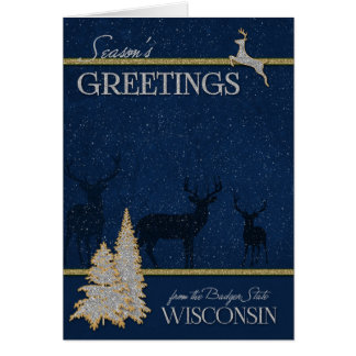 from Wisconsin - The Badger State Woodland Deer Card