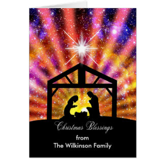 From your family, Nativity at sunset Christmas Card