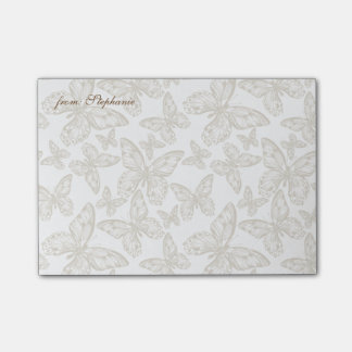 FROM YOUR NAME   Whimsical Butterfly Pattern Post-it Notes