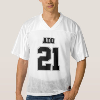 Front BLACK SILVER GRAY WHITE Mens Football Jersey