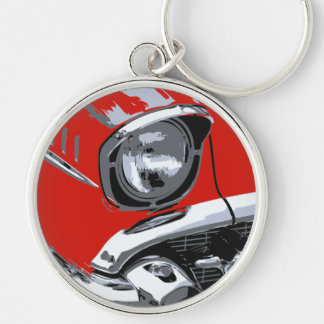 Front car color Silver-Colored round key ring