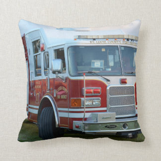 Front corner of county fire truck fireman design cushion