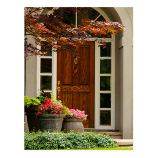 Front Door Wood Closed Real Estate Pot Flowers Postcard