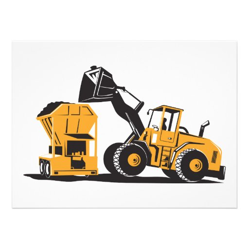 Front End Loader Digger Excavator Retro Personalized Announcement