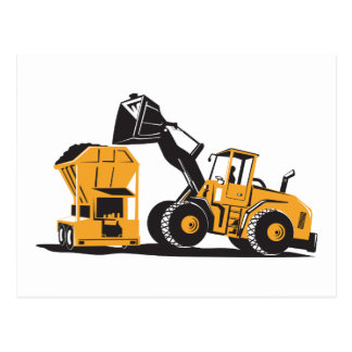 Front End Loader Digger Excavator Retro Post Card
