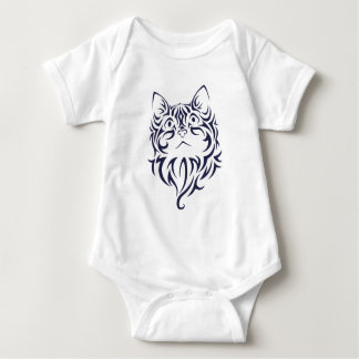 Front Facing Cat Kitten Face Stencil Baby Bodysuit