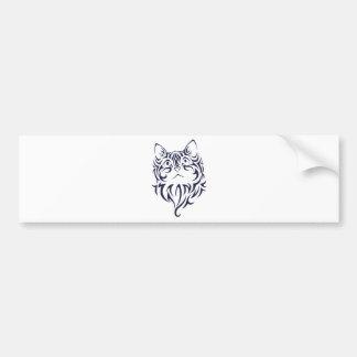 Front Facing Cat Kitten Face Stencil Bumper Sticker