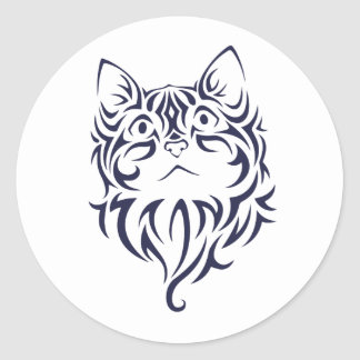 Front Facing Cat Kitten Face Stencil Classic Round Sticker