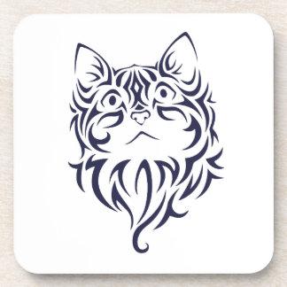Front Facing Cat Kitten Face Stencil Coaster